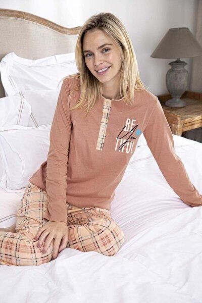 Kadın Penye Altı Desenli Üstü Düz Pijama Takımı