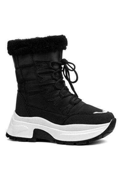 Kadın Siyah Beyaz İçi Kürklü Kışlık Bot Ayakkabı
