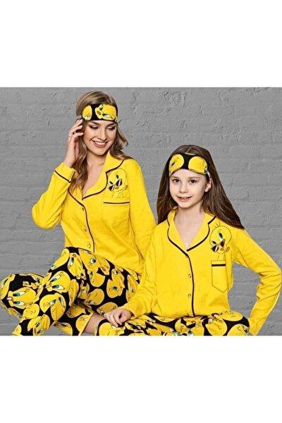 Kadın Sarı Tweety Kombin Pijama Takımı