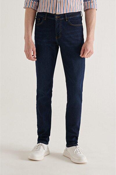 Erkek Lacivert Slim Fit Jean Pantolon A11y3560