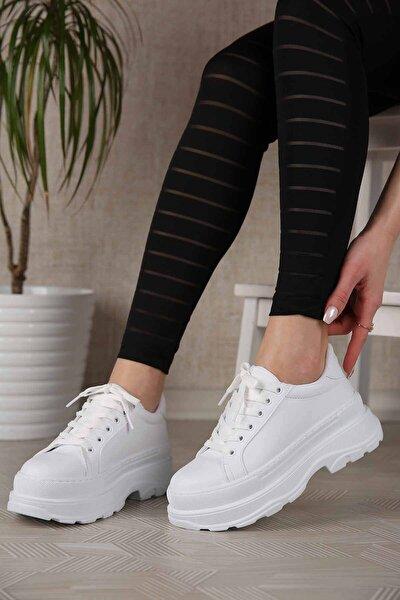 Kadın Beyaz Cilt Yüksek Tabanlı Spor Ayakkabı