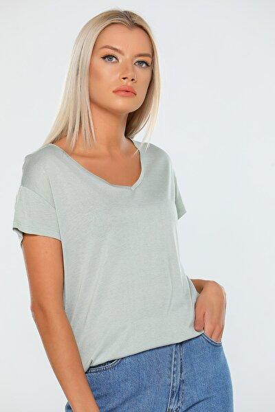 Kadın Yeşil V Yaka Şalaş T-shirt