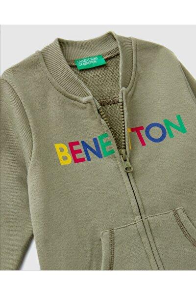 Erkek Çocuk Haki Benetton Yazılı Sweatshirt