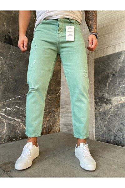 Erkek Açık Yeşil Yırtıklı Boyfriend Erkek Jeans