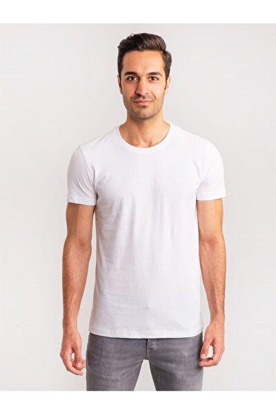 Beyaz Pamuklu Fırçalı Süprem Erkek T-shırt - Modern Fıt