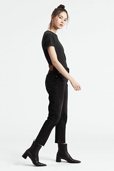 Kadın Siyah Crop Yüksek Bel Jean