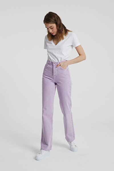 Dıana Lila Rengi Yüksel Bel Dad Straight Fit Pantolon