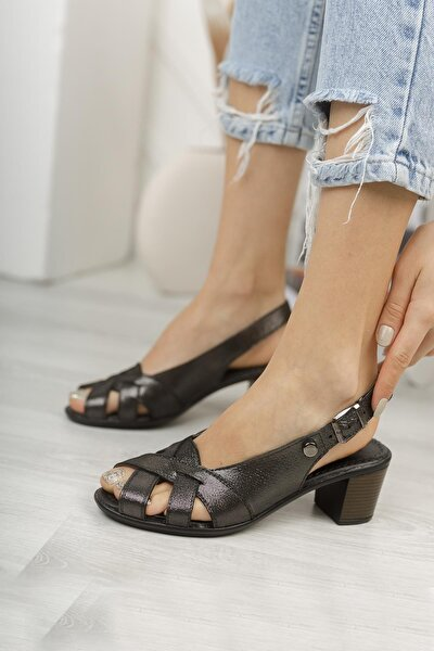 Kadın Platin Hakiki Deri Günlük Klasik Topuklu Sandalet