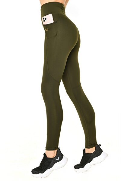 Kadın Yeşil Yüksek Bel Toparlayıcı Spor Tayt Hs-8687