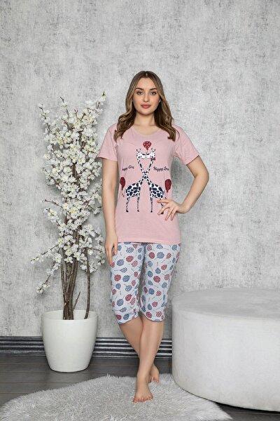 Kadın Pembe Pamuklu Kedi Baskılı Kısa Kollu Kaprili Pijama Takımı