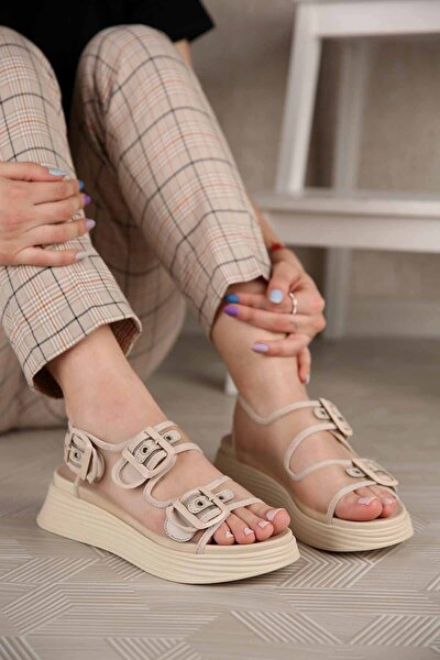 Kadın Bej Toka Kemerli Tül Sandalet