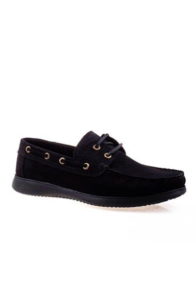 Erkek Siyah Hakiki Deri Nubuk Loafer Ayakkabı