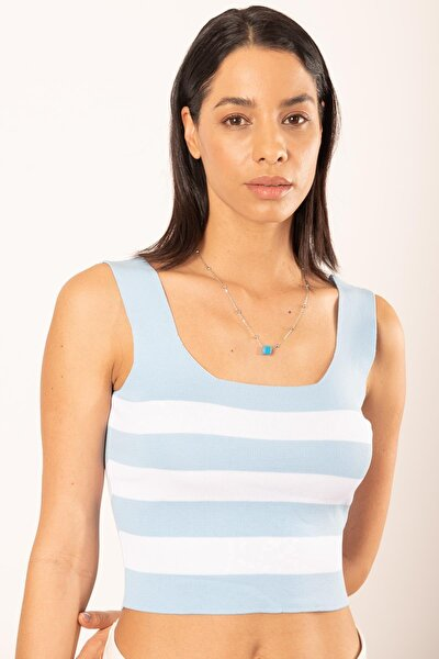 Kadın Çizgili Kare Yaka Triko Crop Atlet Mavi 21s313