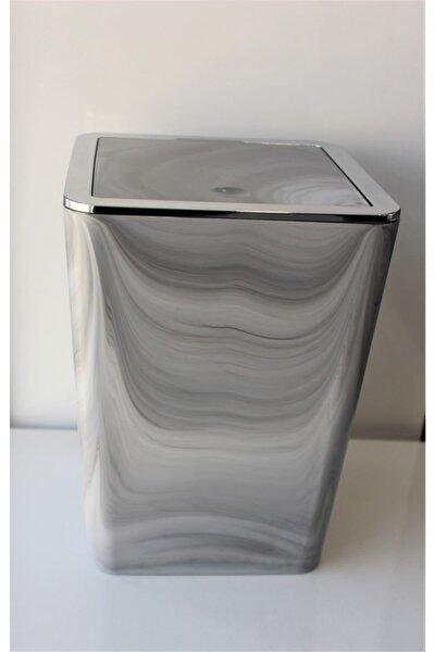 Mermer Desenli Akrilik Kare Elit Çöp Kovası 6 Litre(krom Çerçeveli)