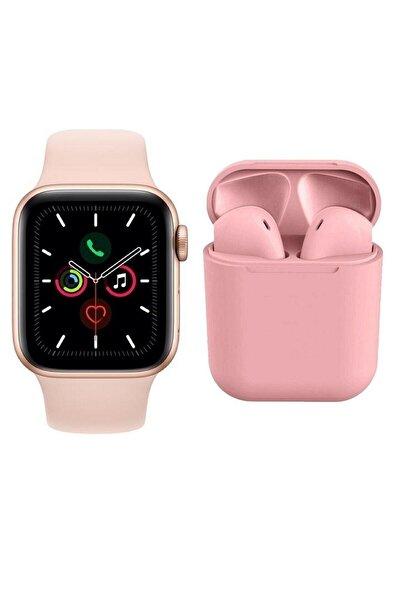 T500 Akıllı Saat Smart Watch + Airpods I12 Tws Kablosuz Kulaklık | Ikili Kombin Pembe |