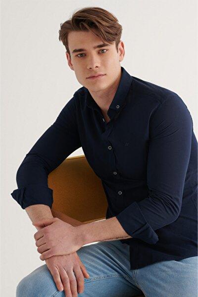 Erkek Lacivert Düz Düğmeli Yaka Slim Fit Uzun Kol Vual Gömlek A11b2206