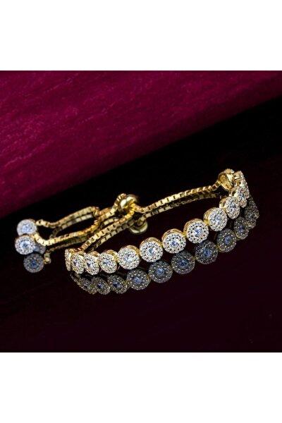 Kadın Altın 925 Ayar Gümüş Elmas Modeli Asansörlü Bileklik