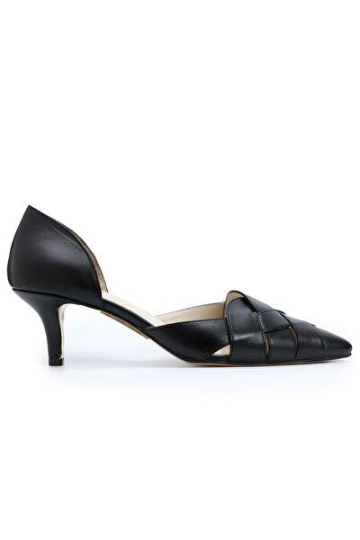 Ozdorothy Hakiki Deri Siyah Topuklu Ayakkabı