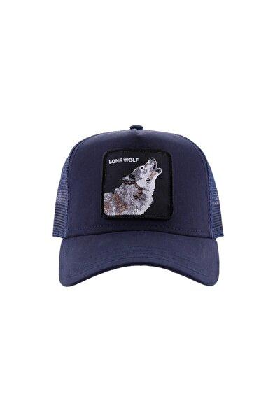 Unisex Lacivert Wolf Şapka