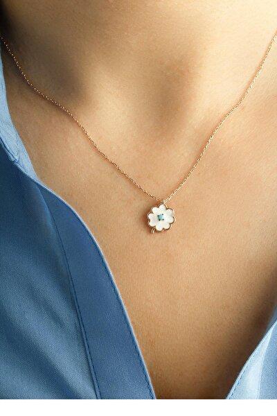 Kadın Mineli Firuze Beyaz Çiçek Kolye -Rose