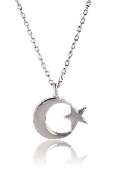 Kadın Gümüş Rengi Ay Yıldız Kolye