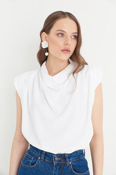 Omuz Vatkalı Bluz- Beyaz