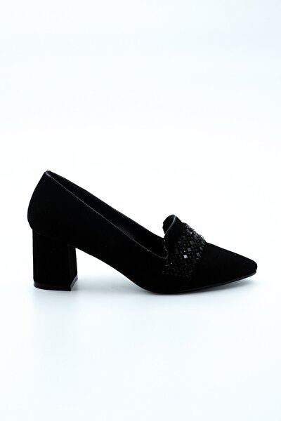 Kadın Siyah Taşlı Topuklu Ayakkabı