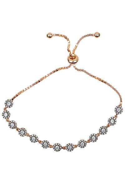 Kadın 925 Ayar Gümüş  Elmas Bileklik - Rose BL-0071
