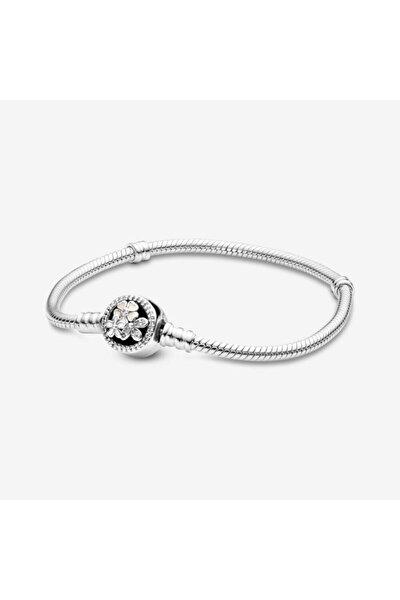 Uyumlu Çiçekli Yılan Gümüş Charm Bileklik