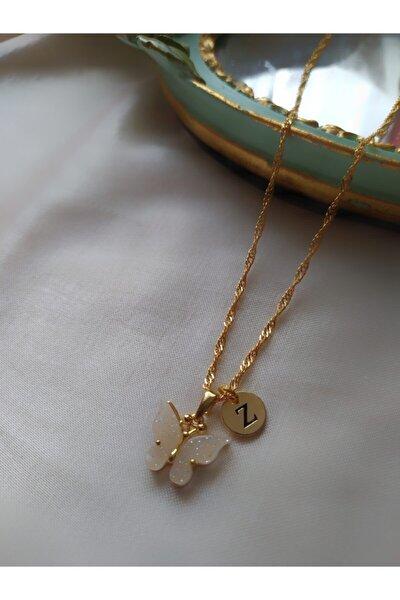 Kadın Altın Kaplama Beyaz Z Harfli Kelebek Kolye