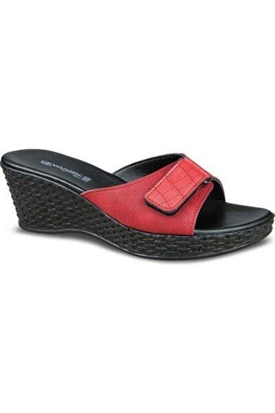Kadın Kırmızı Dolgu Topuk Terlik Perla-6 Cırtlı