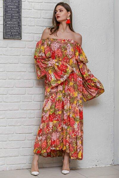 Kadın Turuncu Carmen Yaka Gül Ve Ortanca Desenli Kat Kat Kollu Salaş  Dokuma Elbise M10160000EL95918
