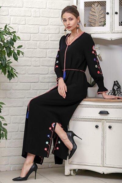 Kadın Siyah Kol Ve Yırtmaçları Çiçek Nakışlı Püsküllü Bağcıklı Dokuma Uzun Elbise M10160000EL95942