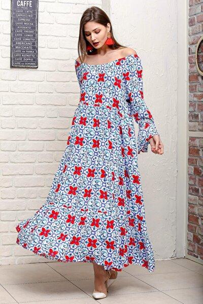 Kadın Mavi Carmen Yaka Kol Ucu Volanlı Çini Çiçek Desenli Salaş Dokuma Elbise M10160000EL95907
