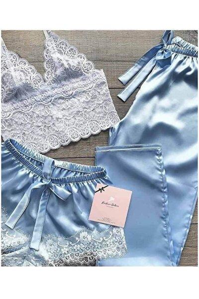 Dantel Büstiyerli Mavi Saten Şortlu Pijama Takımı 5217 S