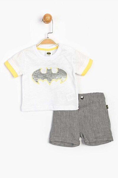Erkek Bebek Beyaz Batman Lisanslı Şortlu 2 Li Takım