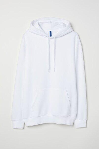 Unisex Beyaz Kapüşonlu Kangru Cep Oversize Sweatshirt