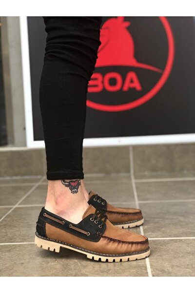 Erkek Taba Siyah Bağcıklı Corcik Klasik Spor  Ayakkabı Ba0037