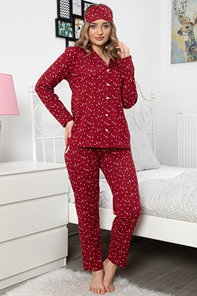 Kadın Kırmızı Önden Düğmeli Süprem Penye Pamuklu Pijama Takımı