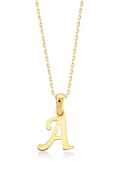 14 Ayar A Harfi Altın Kolye