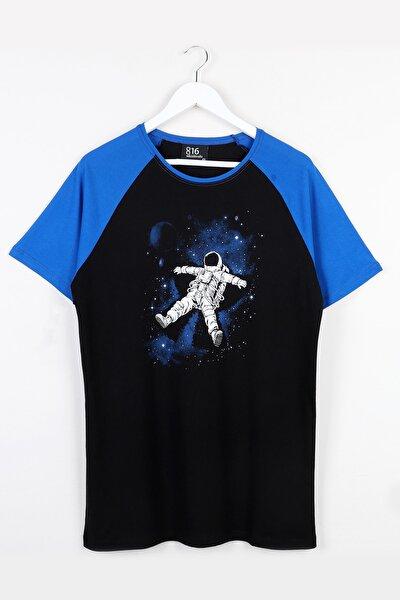 Astronot Baskılı Reglan Kol Unisex Tshirt