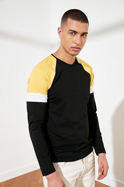 Siyah Erkek Slim Fit Uzun Kollu T-Shirt TMNSS21TS0310