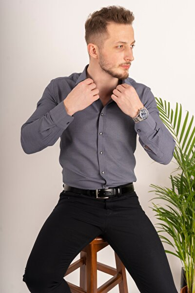 Erkek Füme Armür Desenli Slimfit Gömlek