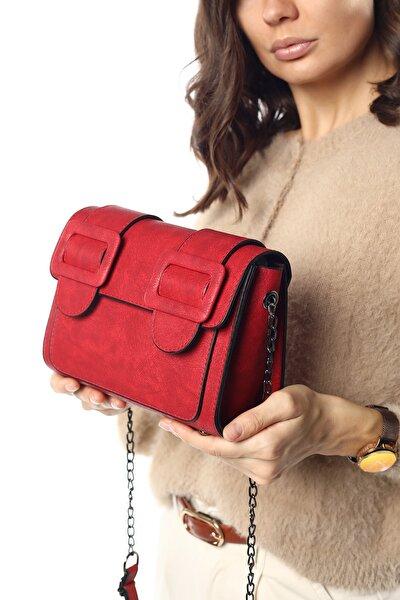 Aynı Butikte 2. Ürün 1 TL Kırmızı Süet Kadın Kemerli Kapaklı Kutu Omuz Çantası