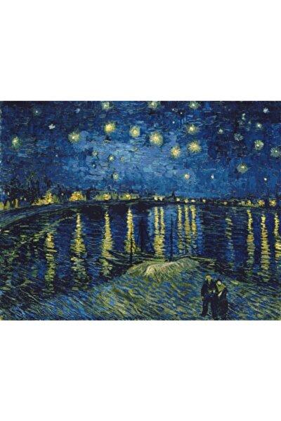 Mavi Rhone Üzerinde Yıldızlı Gece  Elmas Mozaik Tablo  50x39 cm