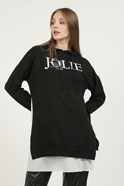 Kadın Siyah Jolue Baskılı Sweatshirt