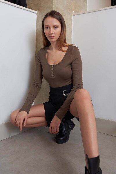 Kadın Vizon Yakası Çıtçıtlı Bluz B1039 - W3 ADX-0000022787