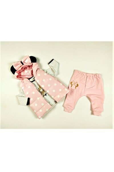 Kız Bebek Pembe Yeni Sezon Kapüşonlu Yelekli Hello Desen Badili 3 Parça Takım-0313