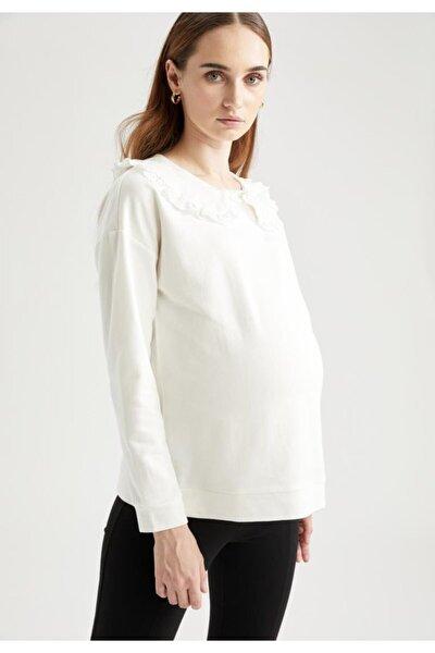 Kadın Beyaz Yaka Detaylı Relax Fit Hamile Üst Bluz