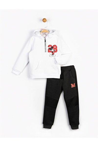 Erkek Çocuk Beyaz Mickey Kapüşonlu Takım 16247